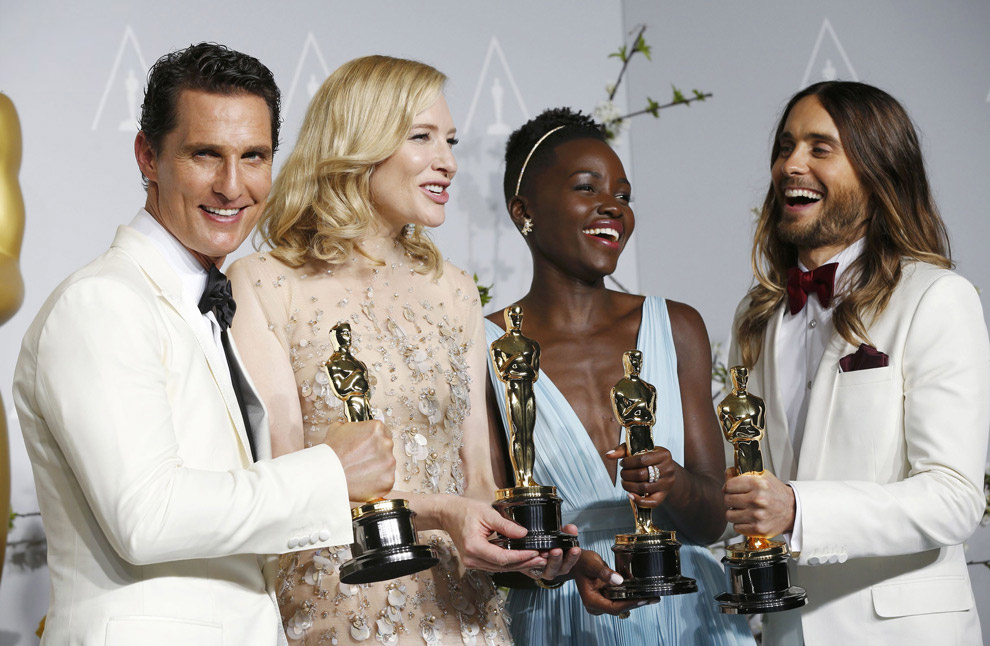 Вот она, четверка лучших актеров и обладателей Оскара 2014. Слева-направо: Мэттью МакКонахи, Кейт Бланшетт, Лупита Нионго и Джаред Лето