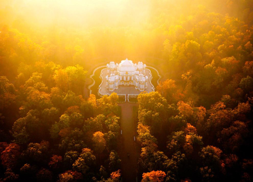 Парковый павильон Эрмитаж в тумане
