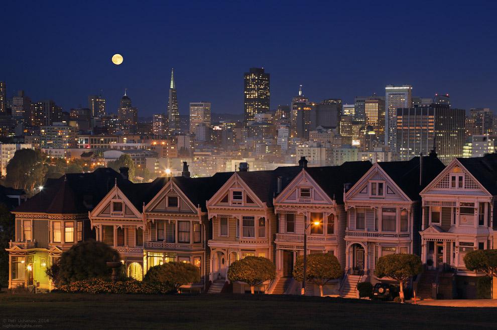 Викторианские домики и современный город