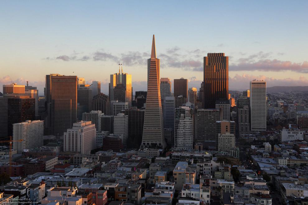 Вид на центр Сан-Франциско с башни Койт