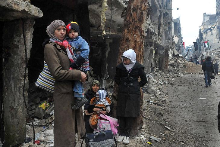 Беженцы на окраине сирийской столицы Дамаск, Сирия