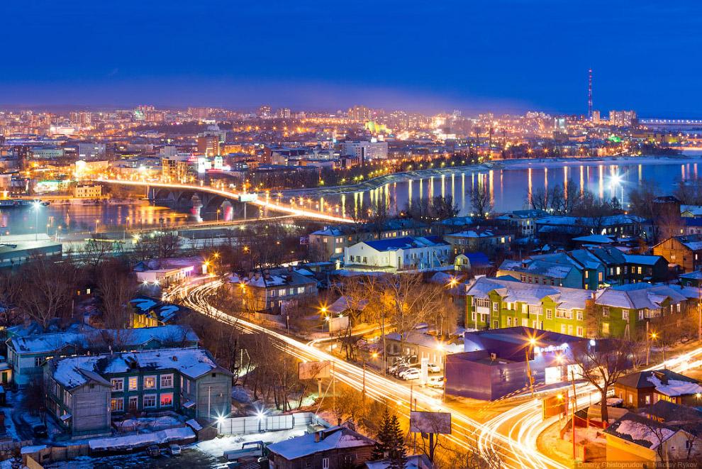 Вечерний Иркутск и улица Джамбула