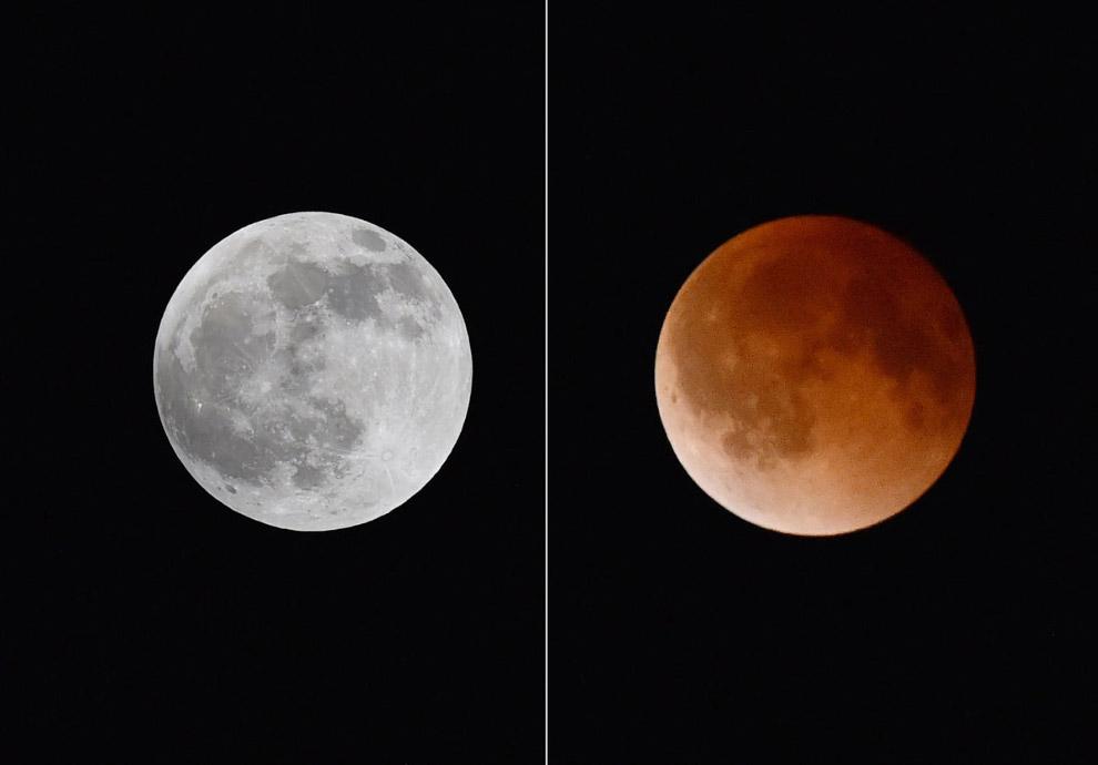 Слева — полная Луна, справа — Луна во время полного лунного затмения, Магдален, Нью-Мексико