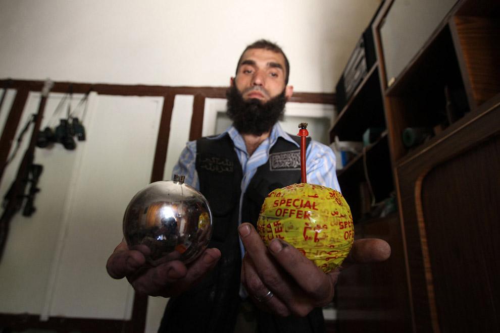 Самодельные бомбы, изготовленные из декоративных новогодних шаров, Алеппо