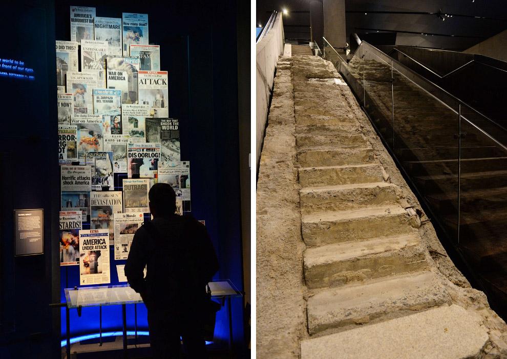 Слева — газеты того времени, справа — так называемая «лестница выживших», по которой бежали вниз спасавшиеся из башни люди