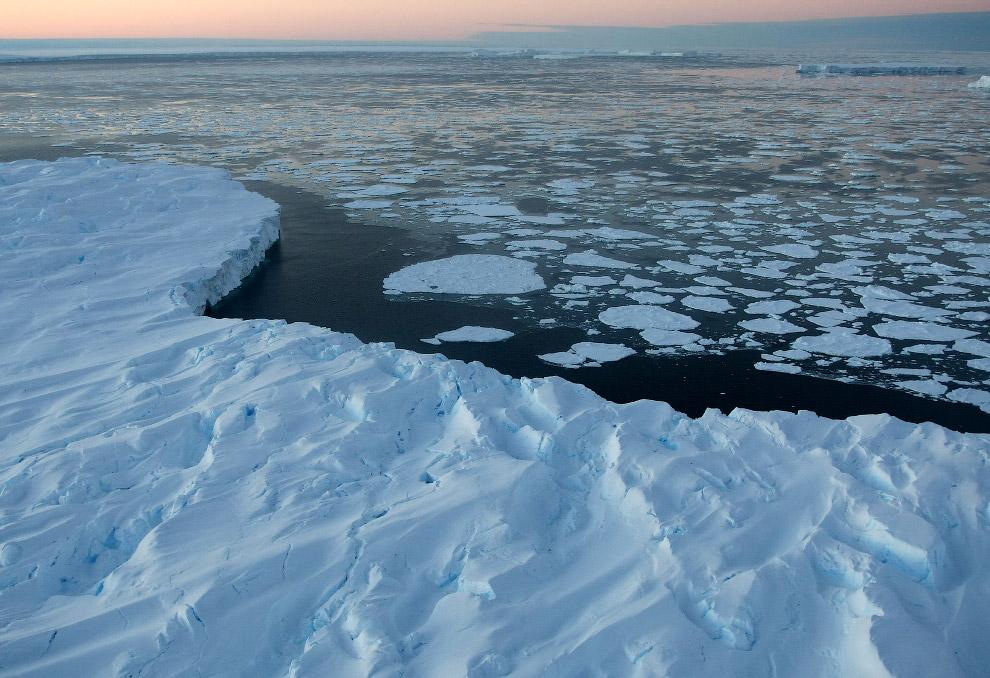Гигантские столовые айсберги в заливе Винсенн