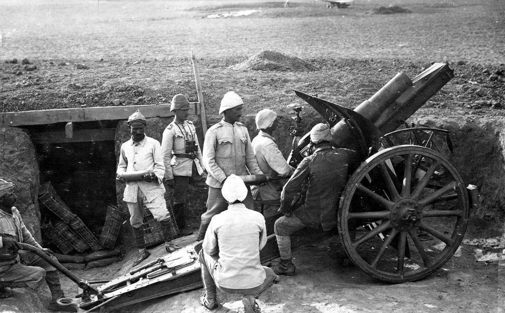 Турецкая артиллерия в 1917 году с немецкой 105 мм гаубицей M98/09