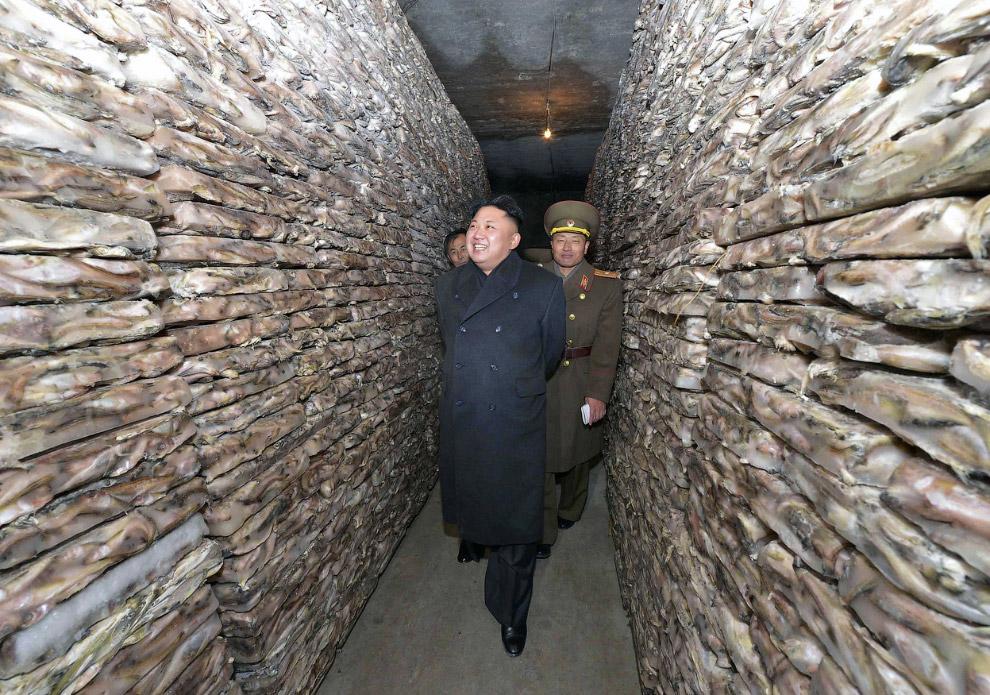Ким Чен Ын раздает указания на рыболовной станции