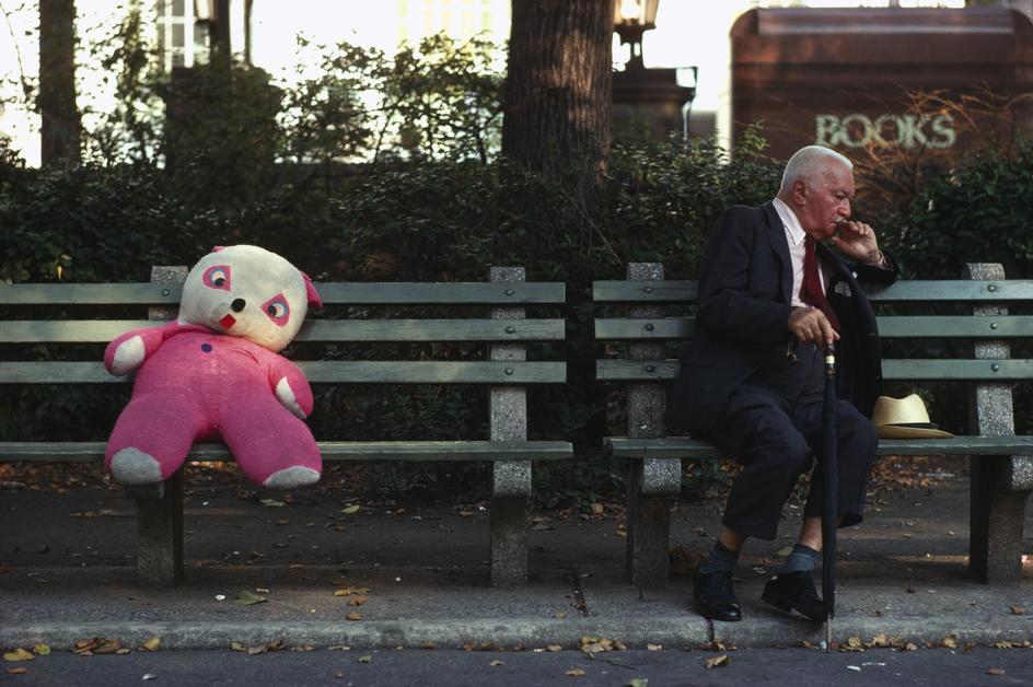 Мягкая игрушка и старик на скамейке в Центральном парке