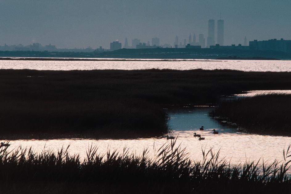 Вид на Манхеттен из района, который находится рядом с аэропортом Кеннеди