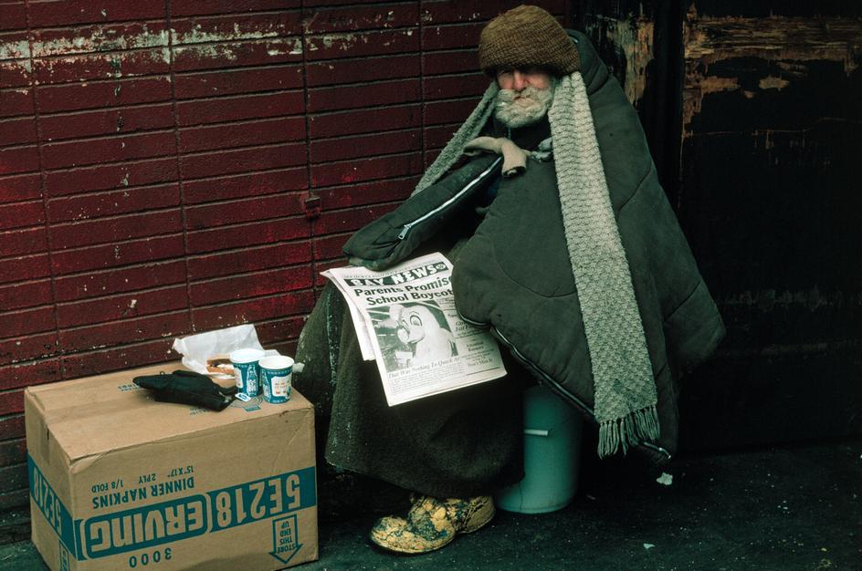Бездомный в нижнем Манхеттене