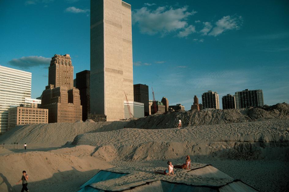 Пляж на месте будущего Всемирного финансового центра