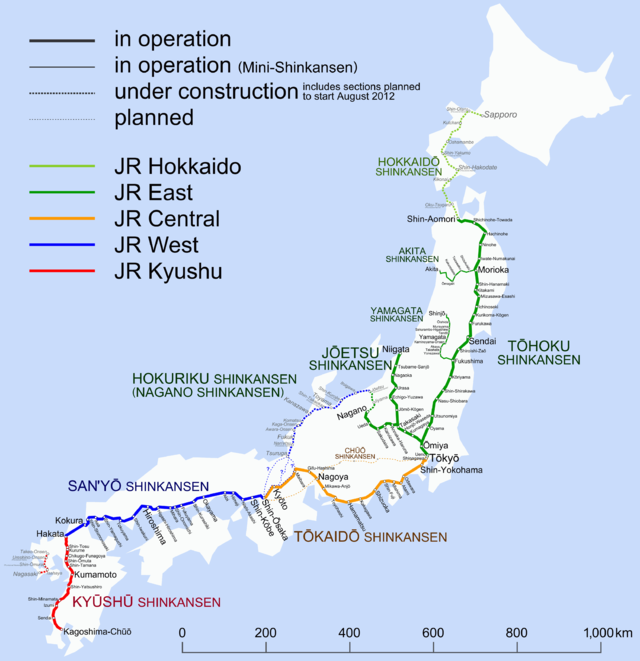 Схема линий поезда Синкансен