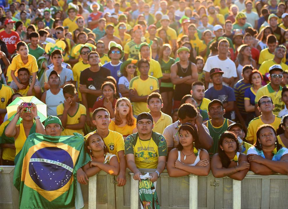 Бразильские болельщики на стадионе