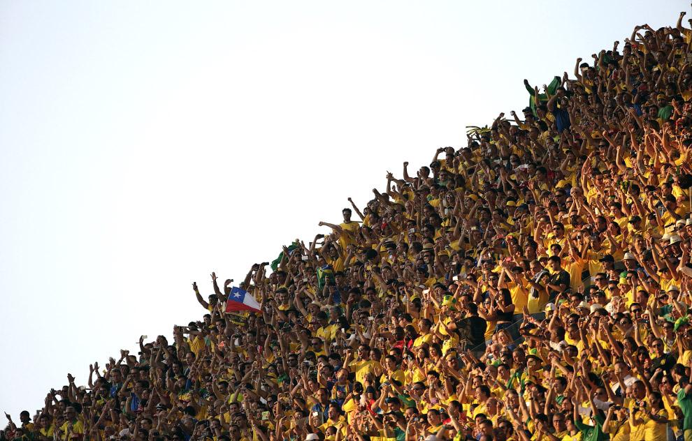 Болельщики на стадионе в Сан-Паулу