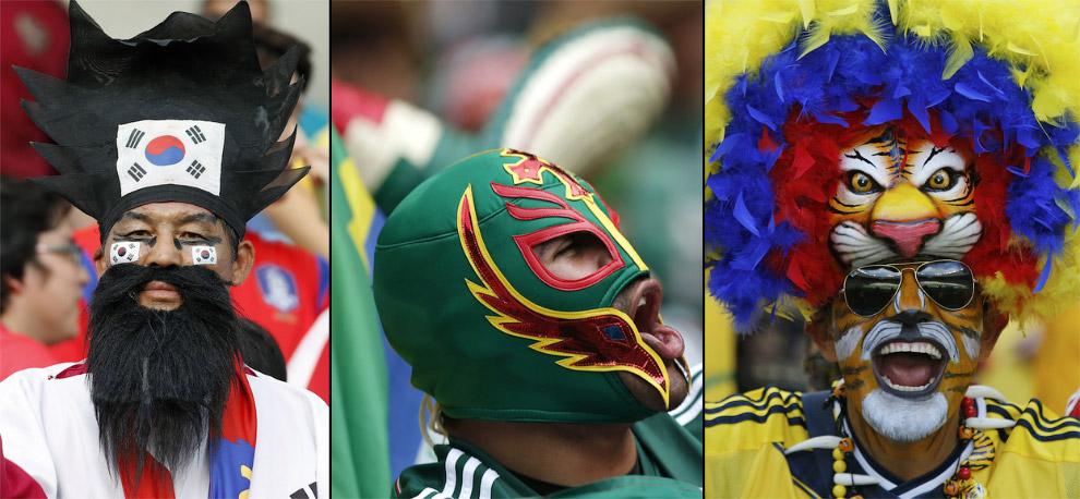 Болельщики Южной Кореи (слева), Мексики (в центре) и Колумбии