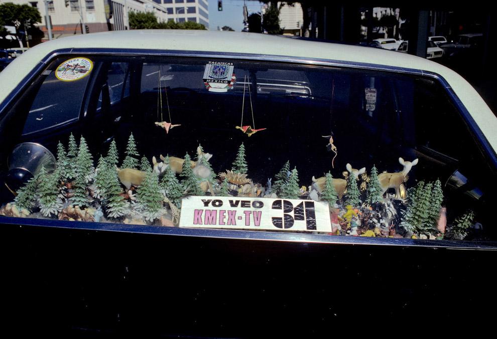 Искусство по-голливудски на задней полке автомобиля