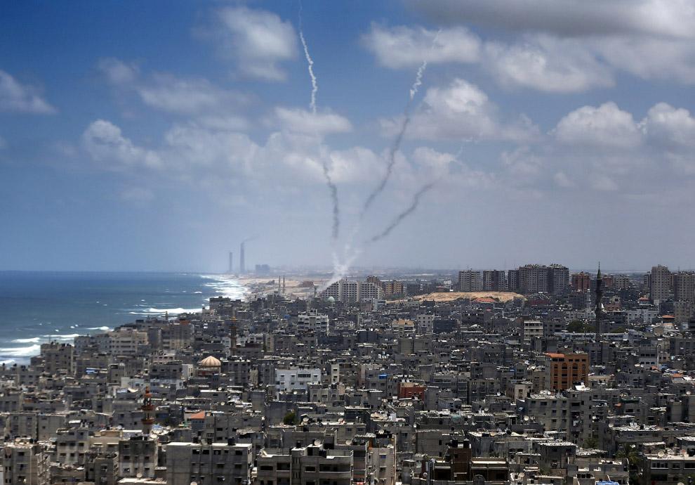 Ракеты, выпущенные из города Газа по Израилю