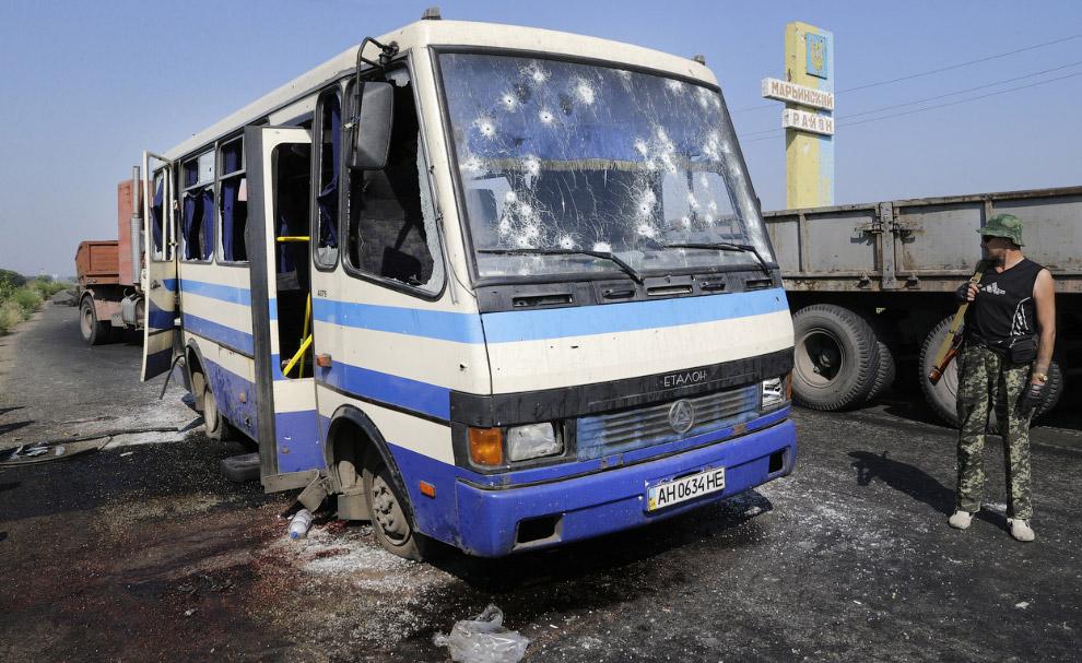 КПП на окраине Донецка