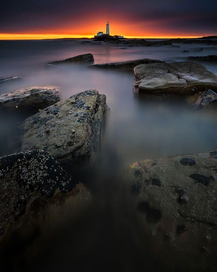 Маяк Святой Марии, Остров Бэйт, Северный Тайнсайд, залив Уитли, Англия