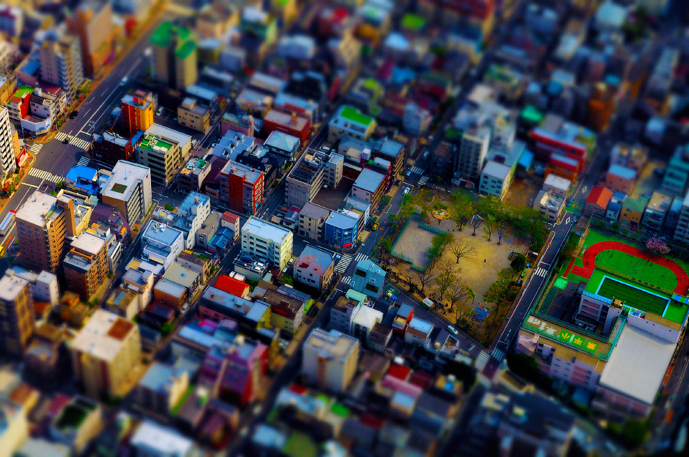 Токио с телевизионной башни Tokyo Skytree в районе Сумида, Токио
