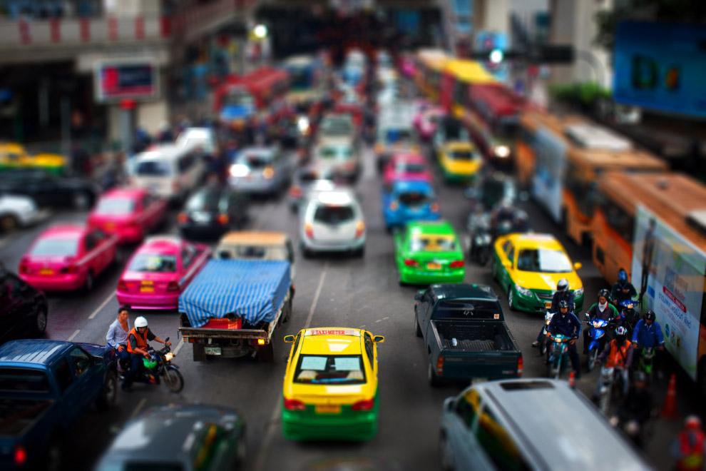 Tilt shift фотография: миниатюрный мир в Бангкоке