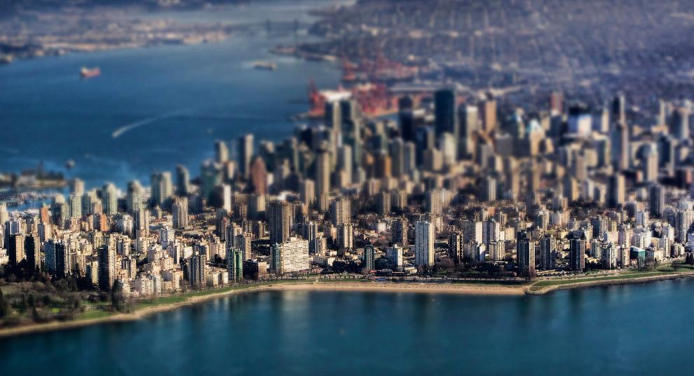 Tilt shift фотография: миниатюрный мир в Ванкувере
