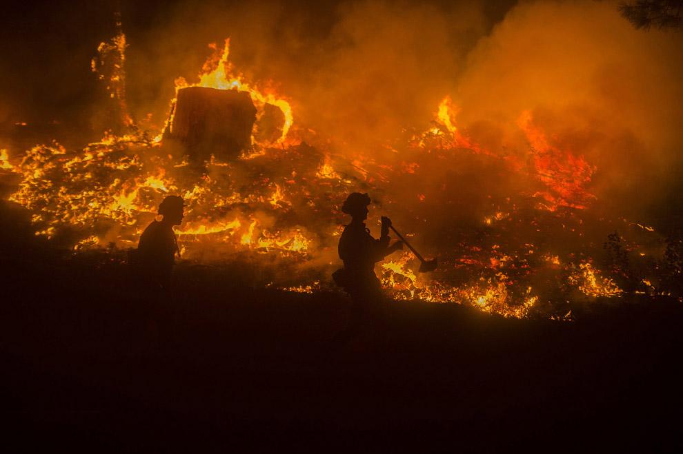 Пожарные сражаются с Королевским огнем Калифорнии