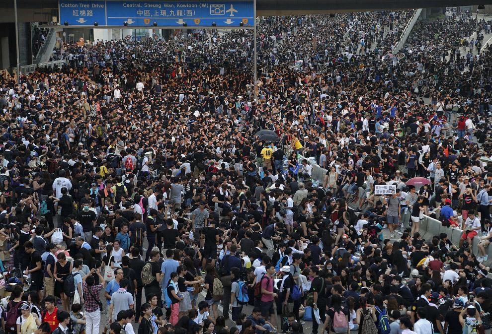 Протесты в финансовом районе в Гонконге