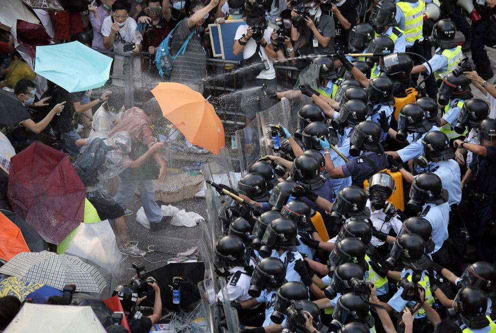 Перцовый аэрозоль против зонтиков, Гонконг