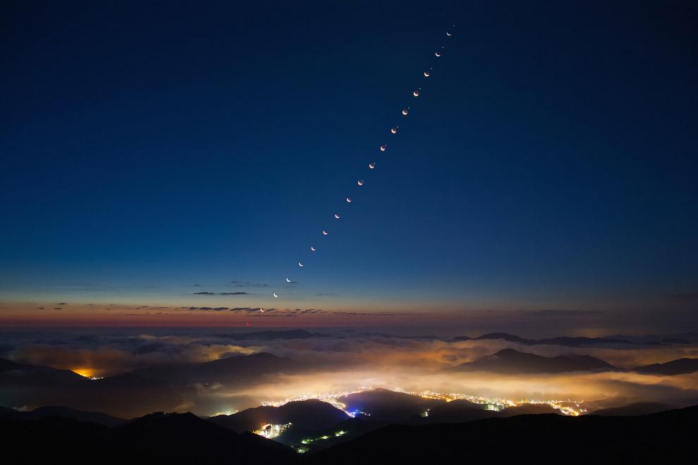 Серия фотографий, когда Луна затмевала Венеру
