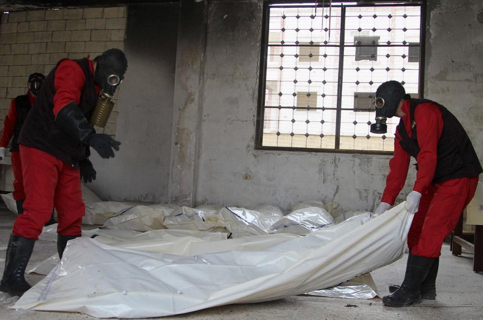 Тела погибших в морге Алеппо