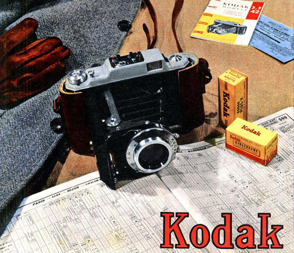 Реклама плёнки и камеры Кодак, июль 1954 года