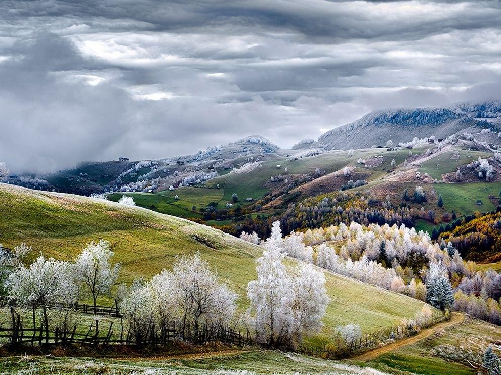 Морозный день в Румынии