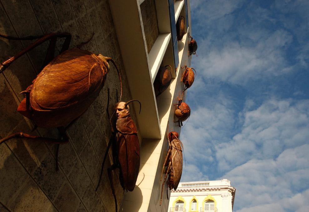 Скульптуры тараканов с человеческими лицами