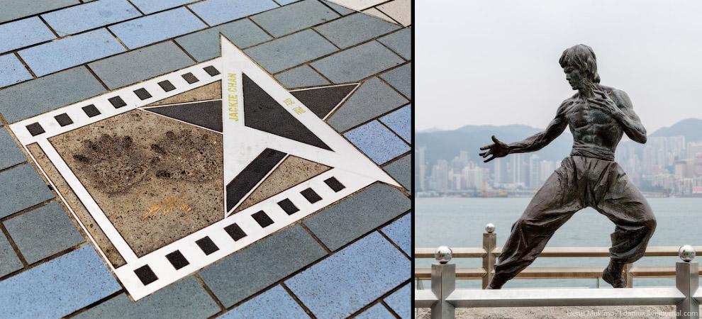 Отпечатки ладоней Джеки Чана и памятник Брюсу Ли.