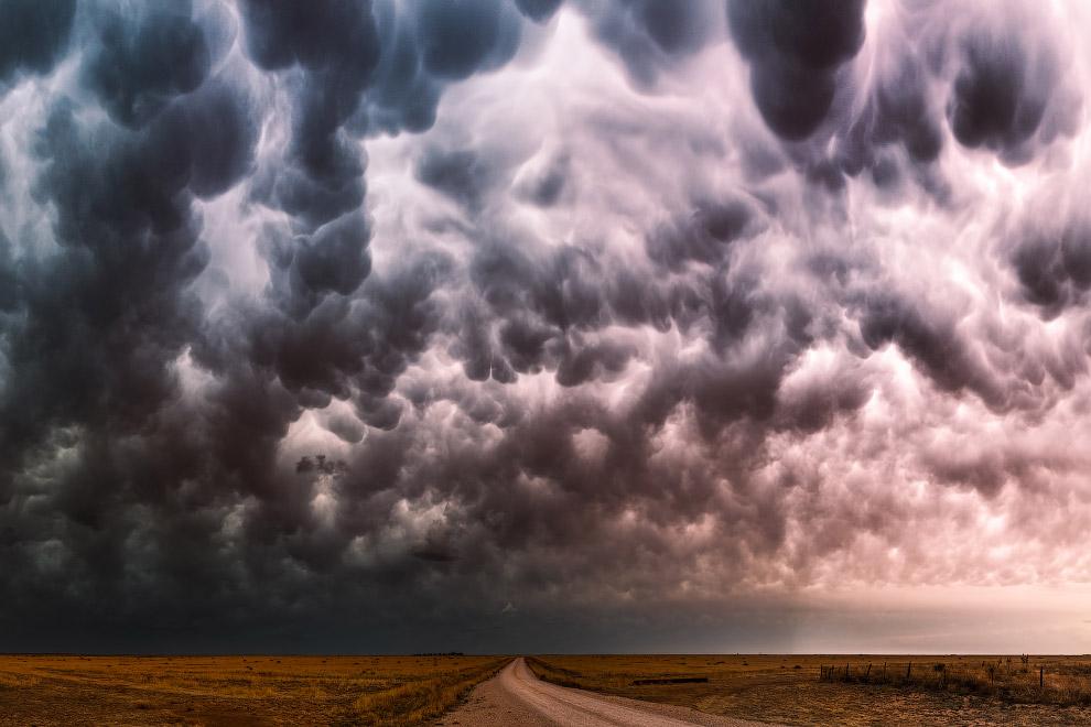 Вымеобразные облака в штате Техас