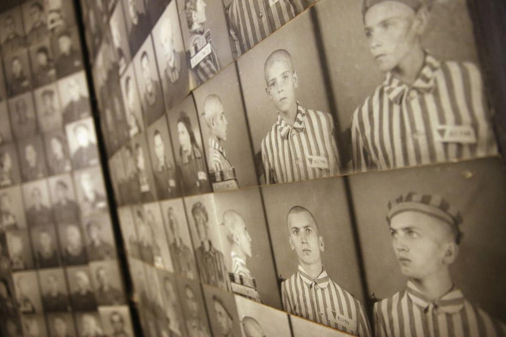 Фото бывших заключенных в бывшем концентрационном лагере, который сегодня является музеем, Польша