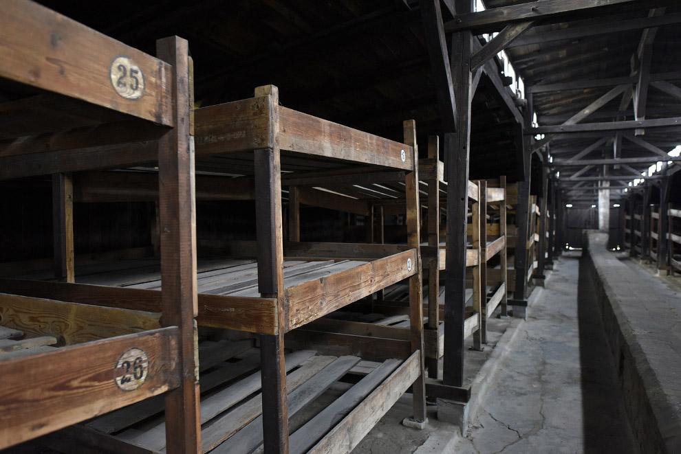 Деревянные нары, на которых когда-то спали заключенные, Освенцим, Польша