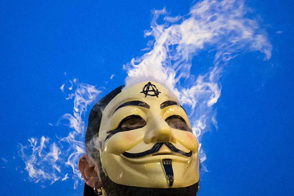 The mask popping up in protests around the world