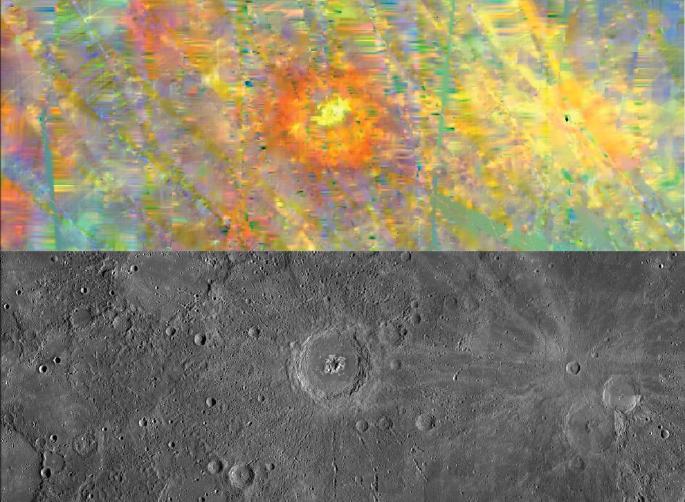 Изображения 130-километрового кратера Эминеску в видимом свете и в ИК-спектре