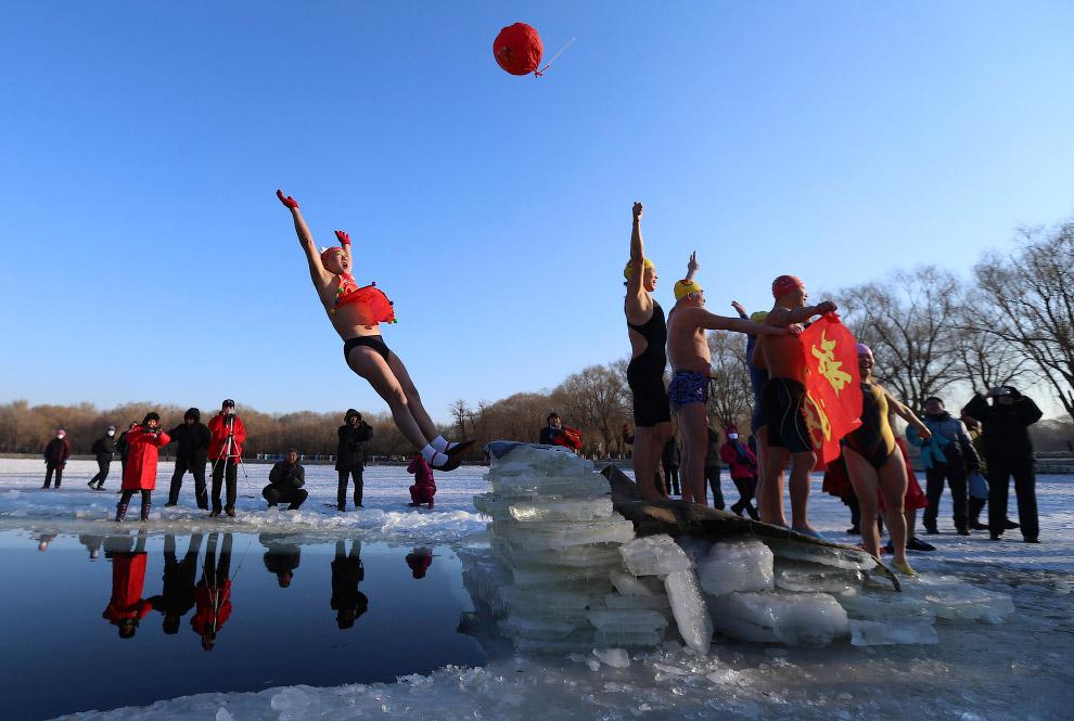 Новогодние купания в Китае