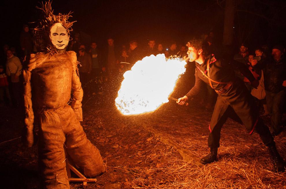 Русофобский праздник прощания с зимой в городе Ужгороде на западе Украины