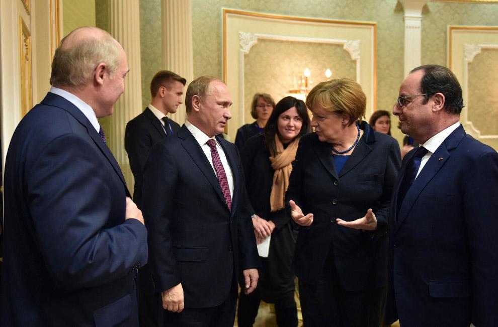 Владимир Путин, Ангела Меркель, Франсуа Олланд и Александр Лукашенко