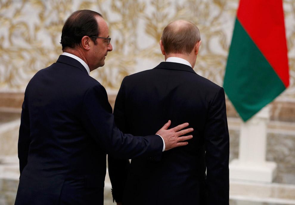 Президент Франции Франсуа Олланд и Владимир Путин