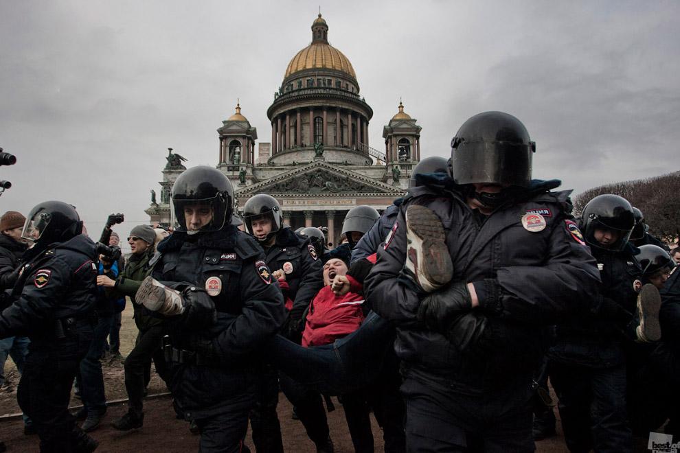 Несанкционированный митинг в Санкт-Петербурге