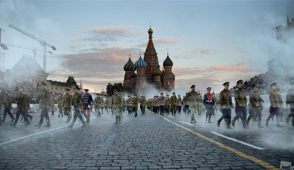 Торжественный марш в Москве на Красной площади