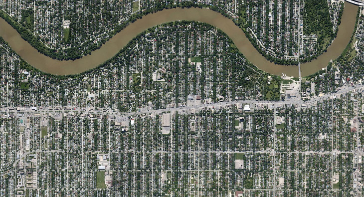 Окрестности города Виннипеге в провинции Манитоба, а также Красная река