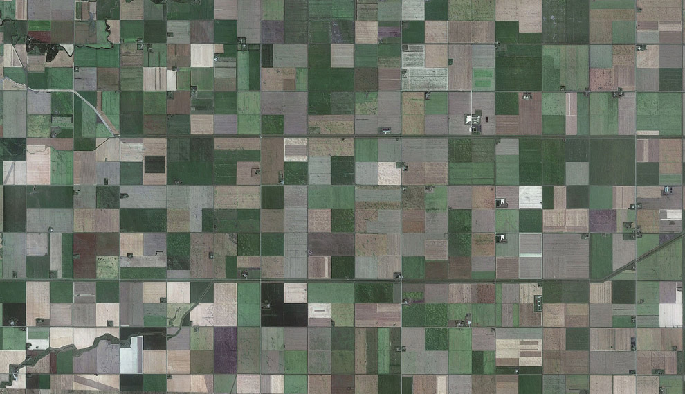 Квадраты сельскохозяйственных полей в провинции Манитоба