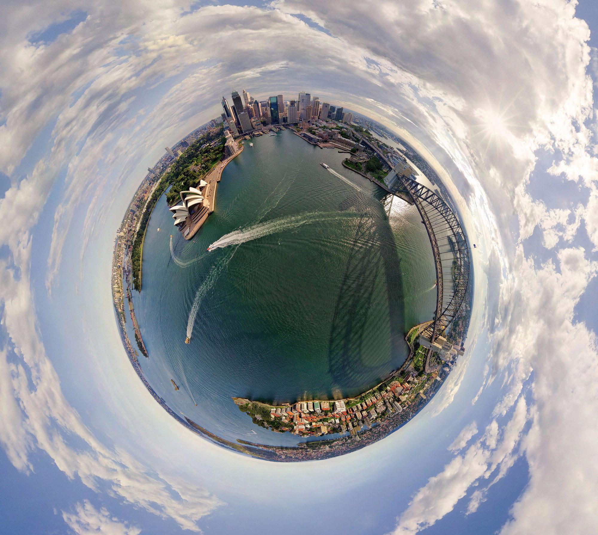 Как сделать круглый мир на фото